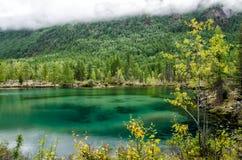 Siberia. Beautiful green fog lake in the forest. Buryatia Stock Photography