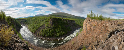 Siberia. Canyon of Neral river. Panorama. Siberia. View on the deep basalt canyon of Neral. Panorama Stock Image