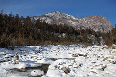 Siberia, Eastern Sayan mountains, the Kyngarga river winter land Royalty Free Stock Image