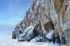Free Siberia, Lake Baikal. The Rocks Of Cape Sagan-Zaba In Winter Royalty Free Stock Photo - 90414115