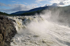 Siberia. Putorana. Powerful Big Kureika waterfall. Stock Photo