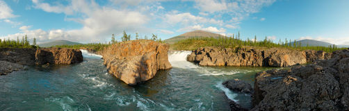 Siberia. Two waterfalls. Panorama Royalty Free Stock Photography