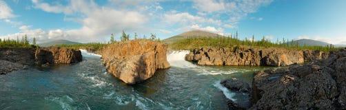 Siberia. Two waterfalls. Panorama. Siberia. Waterfall circus at Putorana plateau on the confluence of Dulismar and Yaktali rivers. Panorama Royalty Free Stock Photography
