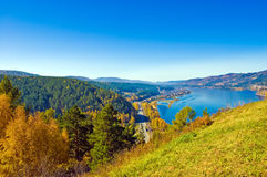Siberia, Yenisei. Yenisei River, near the village of Ovsyanka. View from the mountain Stock Image