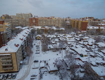 Siberian city. Aerial view of a suburb in the city of Tyumen in Siberia, Russia. Clear the difference between old and new houses Stock Images