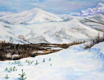 Winter landscape with snow-capped mountains. Oil painting. Siberian hills are covered with snow royalty free stock image
