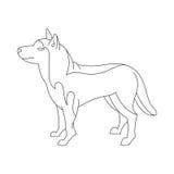 Siberian husky dog. Animal breed profile in linear style. Vector illustration Royalty Free Stock Photos