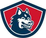 Siberian Husky Dog Head Shield Retro Royaltyfria Foton