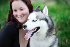 Siberian Husky dog outdoors and a girl Stock Images