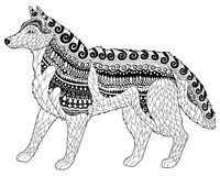 Siberian husky with high details. Adult antistress or children coloring page with dog. Hand drawn animal doodle. Sketch for tattoo, poster, print, t-shirt in Royalty Free Stock Image