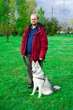 Siberian Husky with a man Royalty Free Stock Images