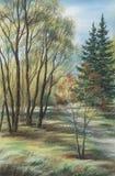 The Siberian landscape, pastel Royalty Free Stock Image