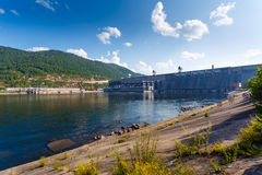 The Siberian landscape power plant on the Yenisei River Royalty Free Stock Images