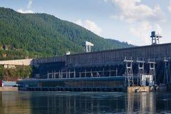 The Siberian landscape power plant on the Yenisei River Stock Image