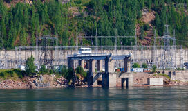 The Siberian landscape power plant on the Yenisei River Royalty Free Stock Image