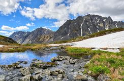 Siberian mountain landscape. Stones covered with mosses and lichens over water Stock Photo