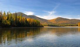 Siberian mountain river in September Stock Images