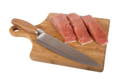 Siberian salmon on wooden board Stock Photo