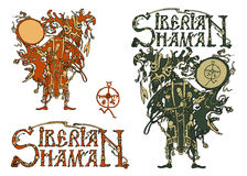 Siberian shaman and the title Siberian shaman. Vector illustration.  on white background Stock Photography
