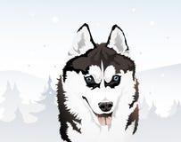 Siberian skrovligt i vinterskogen, illustration Royaltyfri Illustrationer