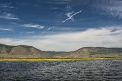 Siberian summer day on Lake Baikal in Sarminsky gorge stock photo