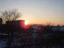The Siberian sunset stock photography