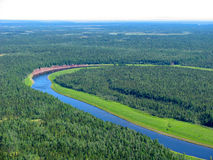 Siberian taiga - aerial view Royalty Free Stock Images