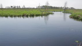 Nameless river with fast flow in the spring flood. The Siberian tundra. Nameless river with fast flow in the spring flood,the camera rises up from the surface of stock video footage