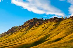 The Siberian Upland. The beauty of Siberian nature The blue sky and beautiful hills stock photo