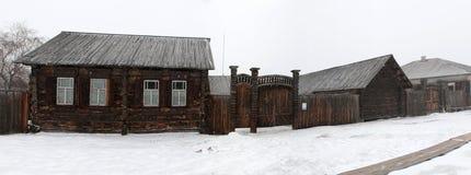 Siberian urban-type settlement Shushenskoye Royalty Free Stock Images