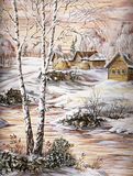 The Siberian village. Drawing distemper on a birch bark: the Siberian village Royalty Free Stock Photos