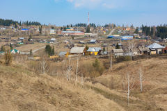 Siberian village on the edge of the taiga Royalty Free Stock Photography