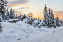 Winter evening in the Siberian village royalty free stock image