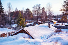 Siberian village at winter Stock Photography