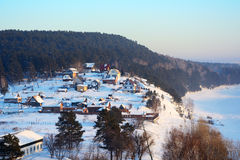 Siberian village in winter Stock Image