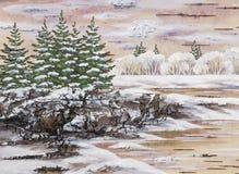 siberian vinter för lake vektor illustrationer