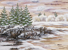 The Siberian winter lake. Drawing distemper on a birch bark: the Siberian winter lake Royalty Free Stock Photography