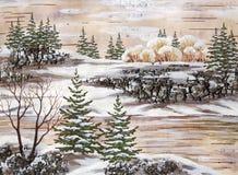 The Siberian winter lake. Drawing distemper on a birch bark: the Siberian winter lake Royalty Free Stock Image