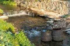 SIBIEL, TRANSYLVANIA/ROMANIA - 9月17日:木桶 免版税库存图片
