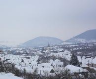 Sibiel в замерзая времени зимы стоковые изображения