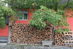 SIBIEL, TRANSYLVANIA/ROMANIA - 16 SEPTEMBRE : Les rondins ont stocké l'outsid image libre de droits