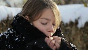 Sibirischer Junge mit einem strengen Gesicht stock footage