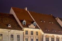 Sibiu 2017: Κύρια τετραγωνική διακόσμηση κτηρίων για τα Χριστούγεννα μ Στοκ Εικόνα