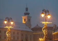 Sibiu, Ρουμανία - 27 Νοεμβρίου 2017: Πρώτο χιόνι στο Sibiu, Ρουμανία, Στοκ Φωτογραφία