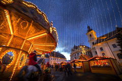 Sibiu Ρουμανία στο χρόνο Χριστουγέννων Στοκ φωτογραφία με δικαίωμα ελεύθερης χρήσης