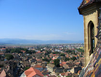 Aerial of Sibiu, Romania. View of Sibiu city, Romania from the towers of the Evangelical Church Stock Images