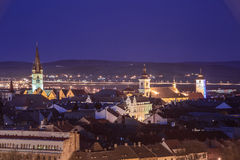 Sibiu from above. Sibe city center seen from above at the blue hour during spring Royalty Free Stock Images