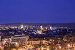 Sibiu from above. Sibe city center seen from above at the blue hour during spring Royalty Free Stock Photos