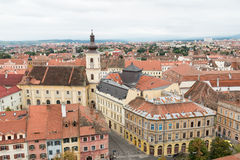 Sibiu. Aerial view historic center in Sibiu with Town Hall on side Stock Photos