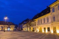 Sibiu all'ora blu Immagini Stock Libere da Diritti